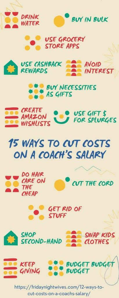 infographic 15 ways to cut costs on a coach's salary
